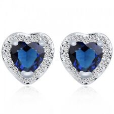 18K WHITE GOLD PLATED SAPPHIRE BLUE & CLEAR CUBIC ZIRCONIA HEART STUD EARRINGS