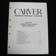 Original Carver SD/A-410 CD Player Service Manual