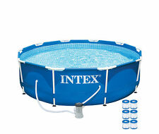 "Intex 10' x 30"" Metal Frame Set Swimming Pool with 330 GPH Pump & 6 Pack Filters"