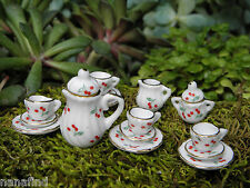 Miniature Dollhouse FAIRY GARDEN Accessories ~ 17 Piece Porcelain Tea Set ~ NEW