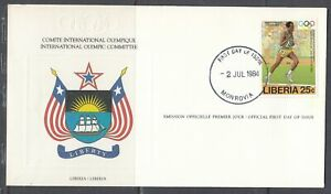 Liberia Scott 1001 IOC FDC - 1984 Summer Olympic Games
