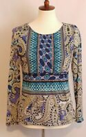 Chico's Top Size 0 Small Long Sleeve Blouse Multicolor Paisley Print Boho