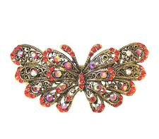 Red Crystal Butterfly Hair Accessory Clip with Antique Gold Metal