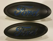 2017 ford escape custom painted matte black flame blue logo emblem set