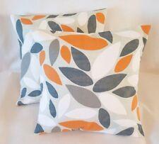 "14"" 16"" 18"" 20""New Cushion Cover Pimlico Orange Mango Grey Leaves Print Handmade"
