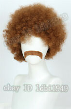 Short Brown Disco Wig Halloween Costume Cosplay Curly  Afro Wig + Fake Mustache