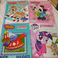 Lot of 4 Coloring Activity Books Rudolph Reindeer My Little Pony Trolls Mickey M