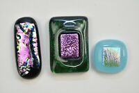 Lot of 3 Jewelry Different Colors Purp  Dichroic  Fused Glass Cabochons Handmade