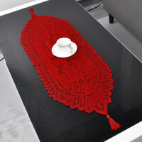 Vintage Red Lace Table Runner Dresser Scarf Doily Wedding 13x35inch Oval