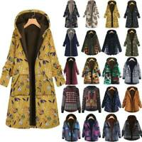 Womens Winter Warm Fleece Hooded Jacket Retro Print Long Coat Outwear Plus Size