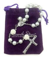 Catholic White Pearl Beads Rose Rosary Necklace Jerusalem Soil Medal & Cross NS