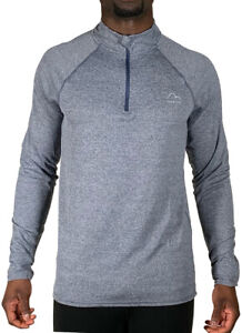 More Mile Train To Run Mens Running Top Grey Half Zip Long Sleeve Gym Run Jersey