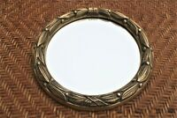 Vintage Cast Brass Round Mirror Wreath Design-Italy-France Rare!