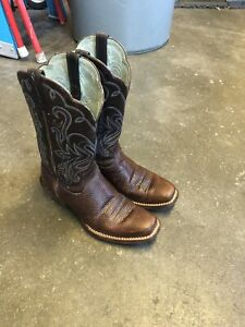 ARIAT - WOMENS 10 - B LEGEND - SQUARE TOE BROWN/BLUE ROWDY COWGIRL WESTERN BOOTS