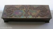 Superb SIGNED Silver Crest BRONZE Dragon STASH BOX Arts Crafts IRIDESCENT PATINA