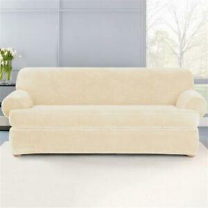 Sure fit Plush Stretch plush T-Sofa Slipcover CREAM ivory 2 pc washable