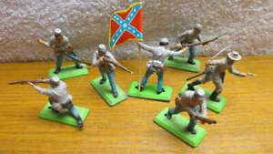 Vintage 1971 Complete Set of 7 Britains Deetail Confederate Rebel Troops England