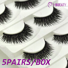 5 Pairs Extra Long Thick Cross Natural False Eyelashes Handmade Fake Eye Lashes