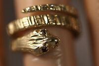 HEAVY WIDE MICHAEL ANTHONY 14K YELLOW GOLD RUBY DIAMOND CUT SNAKE COBRA RING