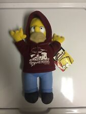 """Rare Homer Simpson 22"""" Plush Hoodie Visit Springfield Before It Visits You toy"""