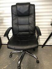 Faux Leather Swivel Desk Chair - Black