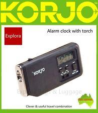 Korjo Travel Accessories - Alarm Clock with Torch -Black