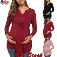 Women Maternity Tops Clothes Long Sleeve Loose Solid Casual Pregnant Blouse US