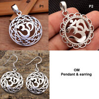 Solid 925 Sterling Silver Spiritual Jewelry Hindu Om Design Pendant Earrings