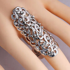 Fashion Retro Vintage Rock Punk Joint Armor Knuckle Full Finger Metal Rings Gift