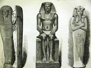 EGYPT MUMMY RAMSES IL KING AMOSIS 1881 Antique Engraving Art Print Matted
