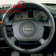 FOR NEW AUDI A4 B6 2002-2006 BLACK REAL GENUINE LEATHER STEERING WHEEL COVER