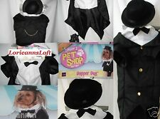 New DOG Costume Pet Black Formal TUXEDO with Tails! BOW TIE Shirt & TOP HAT