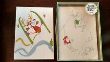 29 Vintage Recycled Paper Products Christmas Holiday Cards - Skiing Reindeer