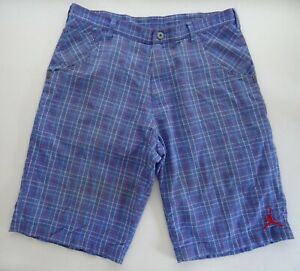 Jordan 36 STAIN Blue Plaid Shorts Mesh Lined Nike Air Woven Cotton 234863-493