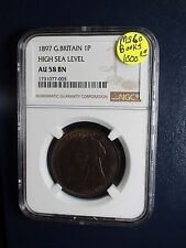1897 Great Britain One Penny NGC AU58 BN RARE HIGH SEA LEVEL 1P Coin BUY IT NOW!