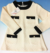 Vijiv Toddler Girls' Long Sleeve Quilted Sweater Dress - Cream White  4T