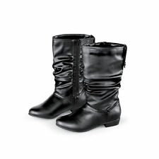 Extra-Wide Scrunched Design Side-Zip Boots