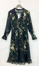 River Island Black Embellished Sequin Long Sleeve Floral Midi Smock Dress