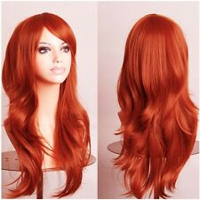 Anime Cosplay Long Wig Heat Resistant Curly Straight Full Wig Ombre Blonde Red s