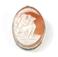 "Victorian 800 Silver Carved Shell Cameo Muse With Harp 1.5"" Pin Brooch Pendant"