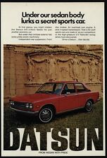 1972 DATSUN 510 2-Door Red Sedan Car - Secret Sports Car - VINTAGE AD