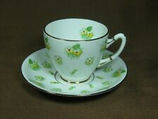 Gladstone Bone China 1946 - 52 Primrose Cup & Saucer Yellow Flowers Green Stems