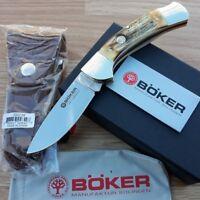 "Boker Lockback Folding Knife 440C Stainless Steel Blade Stag Handle 4.75"" Closed"