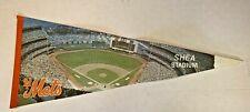 Vintage MLB New York Mets Shea Stadium Souvenir Felt Pennant Baseball Sports Fun