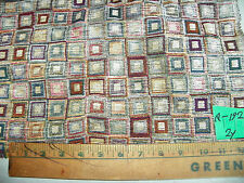 Tan Brown Green Square Print Chenille Upholstery Fabric  1 Yard  F1430