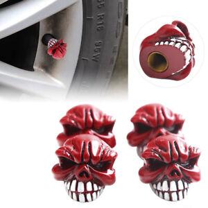 4x Red Skull Head Car Bike Wheel Tire Rims Air Valve Caps Stem Resin Universal