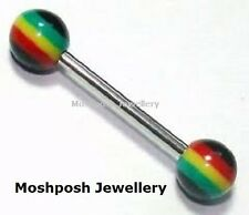 Wholesale/Joblot Jamaican Rasta Reggae Striped Tongue Bars Barbell 1.4g  1.6mm