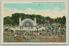 Indian Lake Ohio~Russells Point Open Air Dance Hall~1940s Linen Postcard