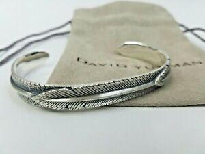 David Yurman Silver Southwest Feather Wrap Men's Cuff Bracelet Size Medium