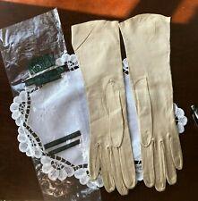 Vintage Women's Leather Kislav Full Length Taupe Gloves, Never Worn, Size 6 1/2